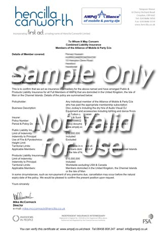 sample PLI certificate